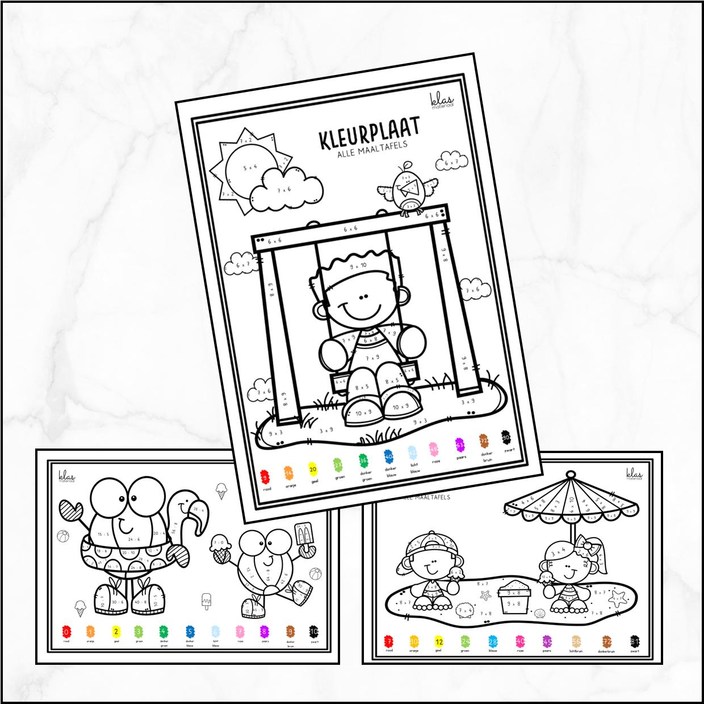 Kleurplaten – maaltafels – deeltafels