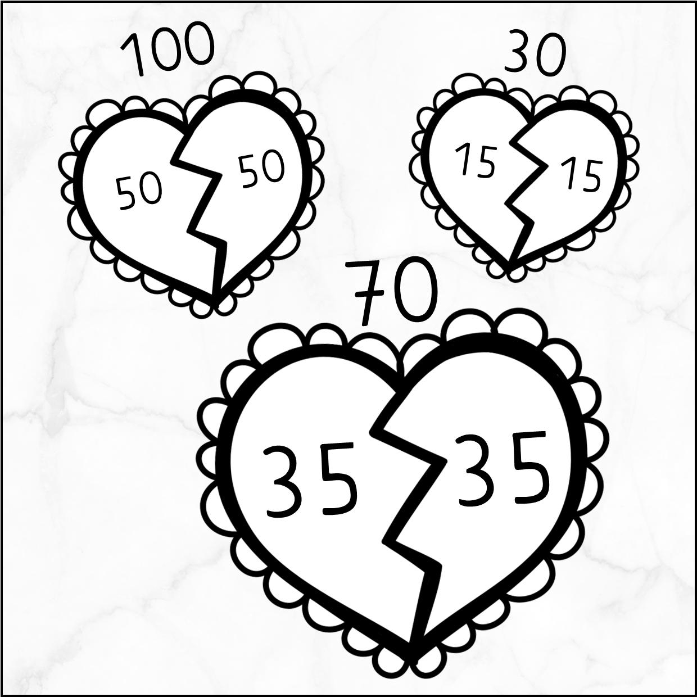 Verliefde harten – de helft van de tientallen