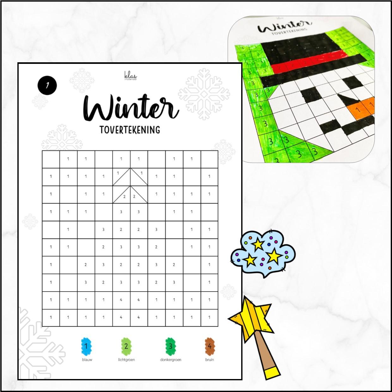 Kleuren op code winter – grote vakjes