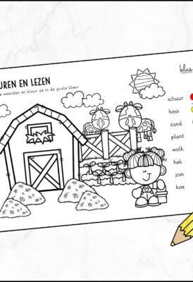 Kleurplaat lezen boerderij