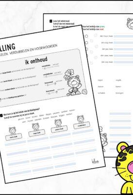 Werkblad en presentatie verdubbelen verenkelen en hoorwoorden