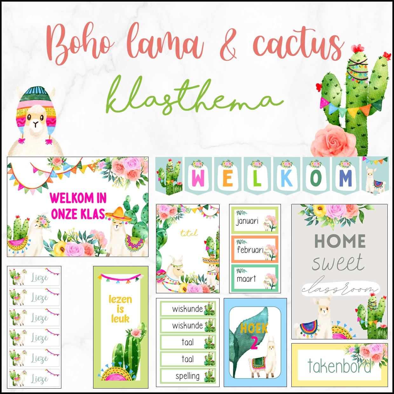 Klasthema watercolor lama & cactus